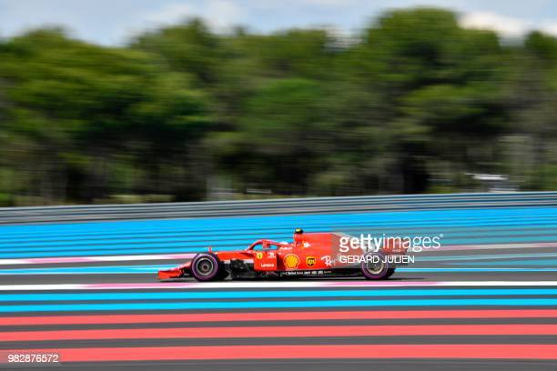 TOPSHOT Ferrari's Finnish driver Kimi Raikkonen competes during the Formula One Grand Prix de France at the Circuit Paul Ricard in Le Castellet...
