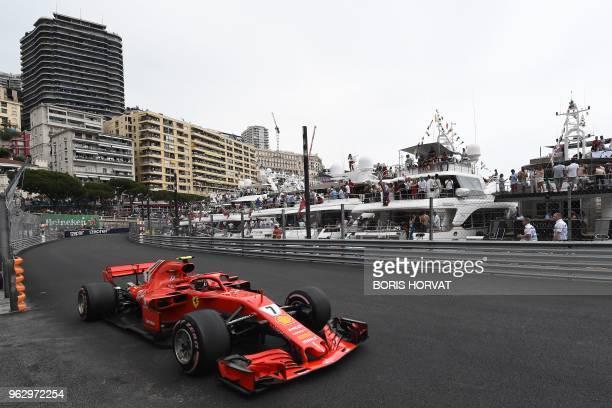 Ferrari's Finnish driver Kimi Raikkonen competes during the Monaco Formula 1 Grand Prix at the Monaco street circuit on May 27 2018 in Monaco