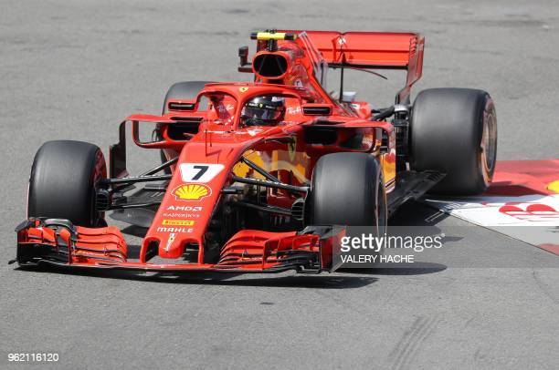 Ferrari's Finnish driver Kimi Raikkonen drives during the second practice session at the Monaco street circuit on May 24, 2018 in Monaco, ahead of...