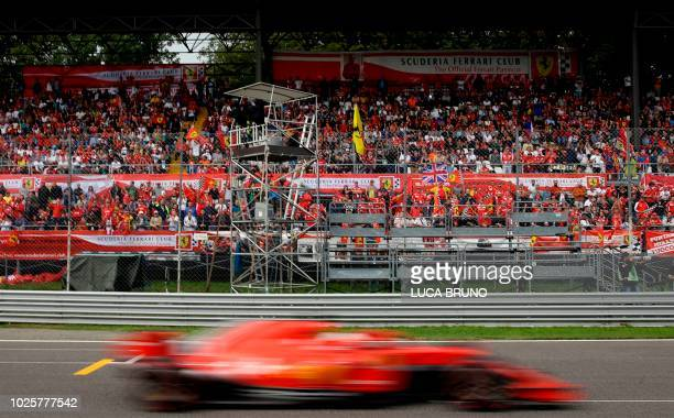 Ferrari's German driver Sebastian Vettel competes during the qualifying session at the Autodromo Nazionale circuit in Monza on September 1, 2018...