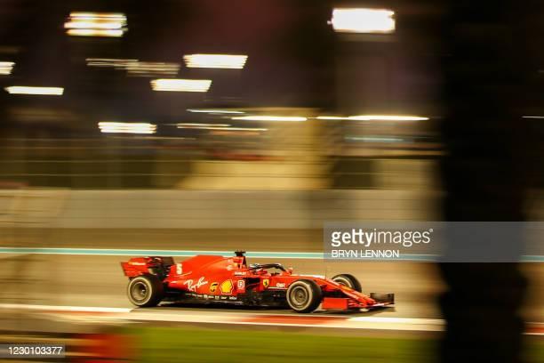 Ferrari's German driver Sebastian Vettel drives during the Abu Dhabi Formula One Grand Prix at the Yas Marina Circuit in the Emirati city of Abu...