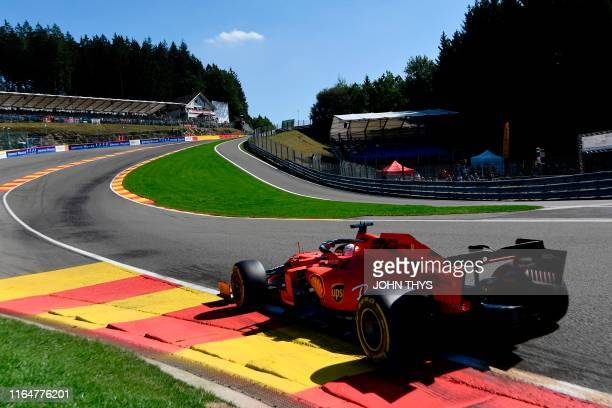 TOPSHOT Ferrari's German driver Sebastian Vettel drives during the second practice session at the SpaFrancorchamps circuit in Spa on August 30 2019...