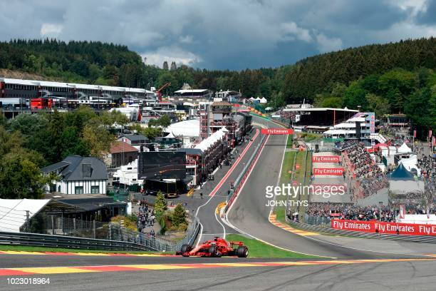 Ferrari's German driver Sebastian Vettel drives during the third practice session at the Spa-Francorchamps circuit in Spa on August 25, 2018 ahead of...