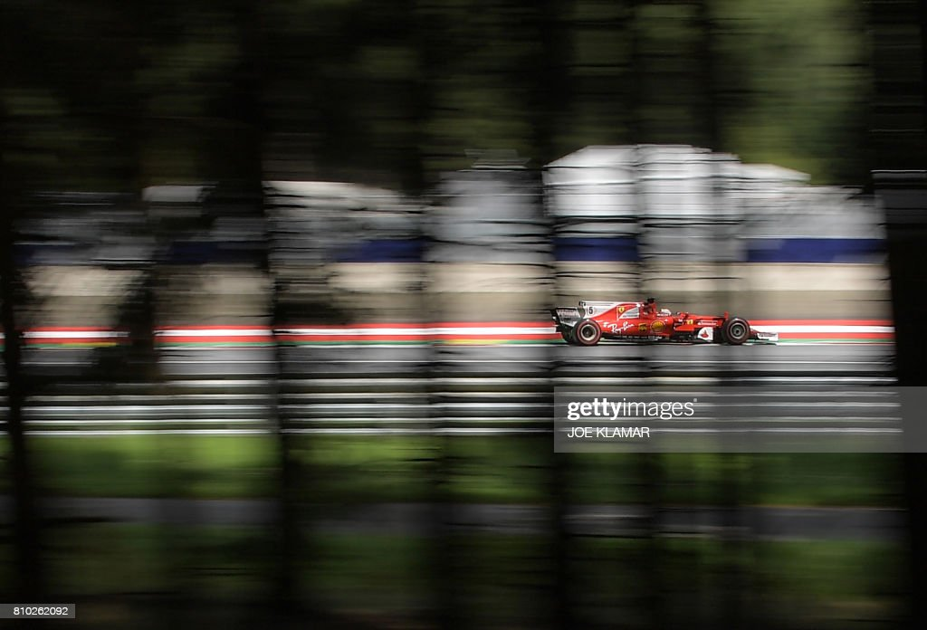 Ferrari's German driver Sebastian Vettel drives his car during the second practice session of the Formula One Austria Grand Prix at the Red Bull Ring in Spielberg, on July 8, 2017. /