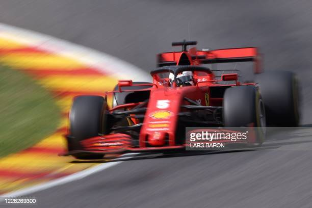 Ferrari's German driver Sebastian Vettel during the Belgian Formula One Grand Prix at the Spa-Francorchamps circuit in Spa on August 30, 2020.