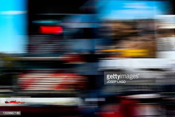 Ferrari's German driver Sebastian Vettel takes part in the tests for the new Formula One Grand Prix season at the Circuit de Catalunya in Montmelo in...