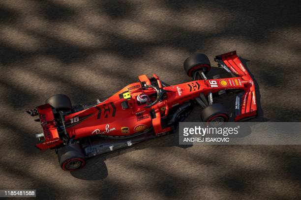 Ferrari's Monagesque driver Charles Leclerc drives his car during the first practice session on November 29 at the Yas Marina Circuit in Abu Dhabi...