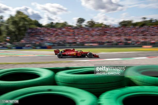 Ferrari's Monegasque driver Charles Leclerc competes during the Italian Formula One Grand Prix at the Autodromo Nazionale circuit in Monza on...