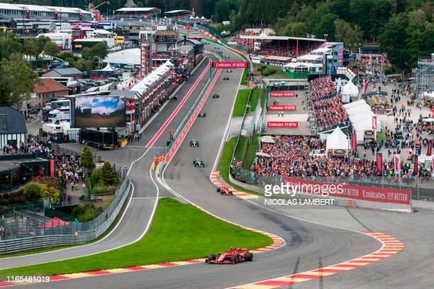 Ferrari's Monegasque driver Charles Leclerc drives ahead during the Belgian Formula One Grand Prix at the Spa-Francorchamps circuit in Spa on...
