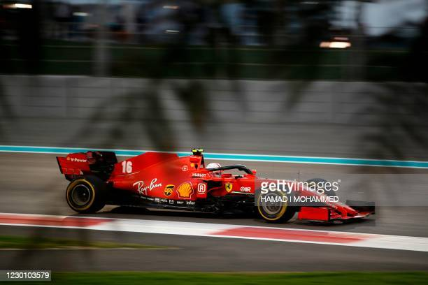 Ferrari's Monegasque driver Charles Leclerc drives during the Abu Dhabi Formula One Grand Prix at the Yas Marina Circuit in the Emirati city of Abu...