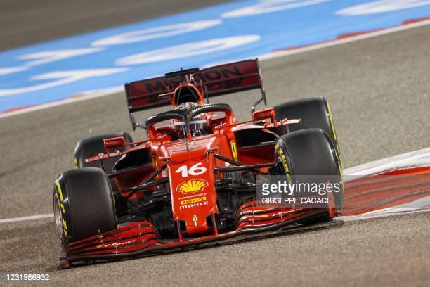 Ferrari's Monegasque driver Charles Leclerc drives during the Bahrain Formula One Grand Prix at the Bahrain International Circuit in the city of...