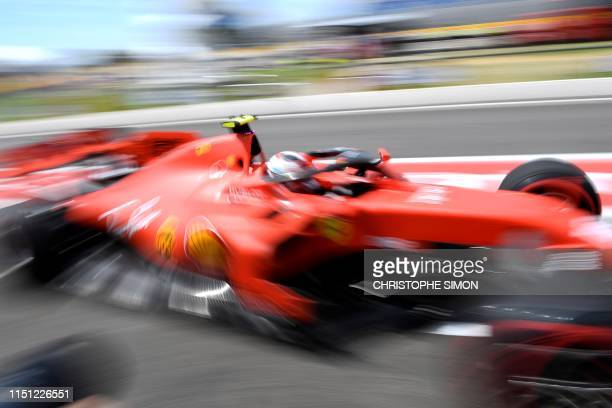 Ferrari's Monegasque driver Charles Leclerc drives during the first practice session at the Circuit Paul Ricard in Le Castellet, southern France, on...