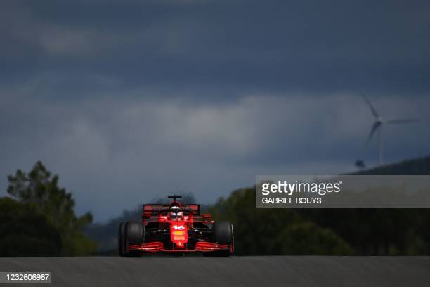 Ferrari's Monegasque driver Charles Leclerc drives during the first practice session of the Portuguese Formula One Grand Prix at the Algarve...