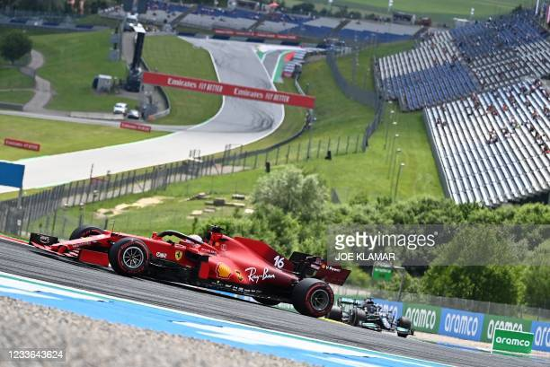 Ferrari's Monegasque driver Charles Leclerc drives during the first practice session at the Red Bull Ring race track in Spielberg, Austria, on June...