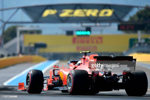 Ferrari's Monegasque driver Charles Leclerc drives during the second practice session at the Circuit Paul Ricard in Le Castellet, southern France, on...