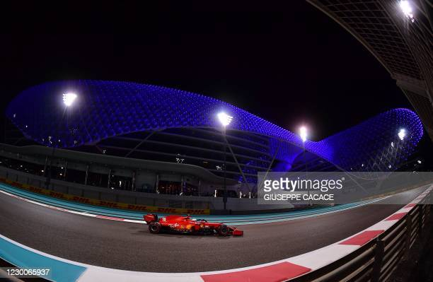 Ferrari's Monegasque driver Charles Leclerc drives during the second practice session ahead of the Abu Dhabi Formula One Grand Prix at the Yas Marina...