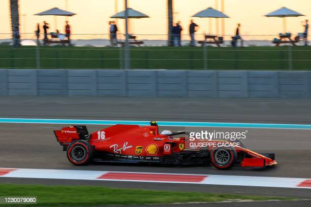 Ferrari's Monegasque driver Charles Leclerc drives during the qualifying session on the eve of the Abu Dhabi Formula One Grand Prix at the Yas Marina...