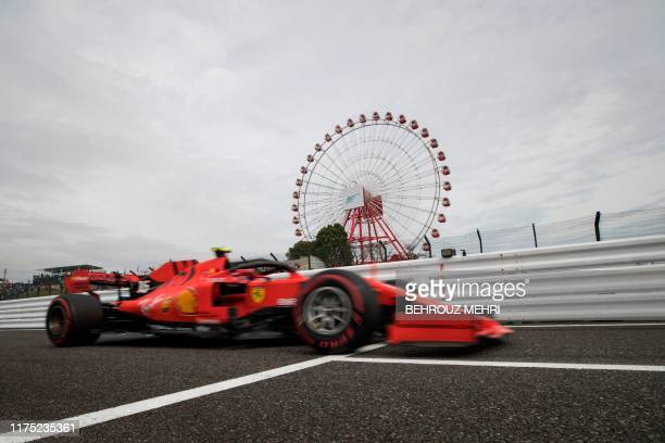Ferrari's Monegasque driver Charles Leclerc drives in the first practice session for the Formula One Japanese Grand Prix in Suzuka on October 11,...