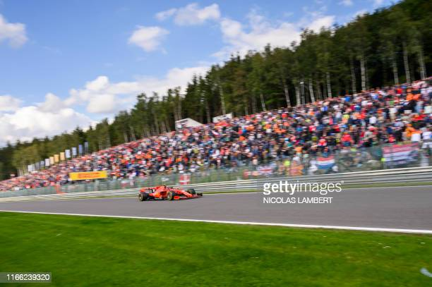 Ferrari's Monegasque driver Charles Leclerc pictured during the Spa-Francorchamps Formula One Grand Prix of Belgium race, in Spa-Francorchamps,...