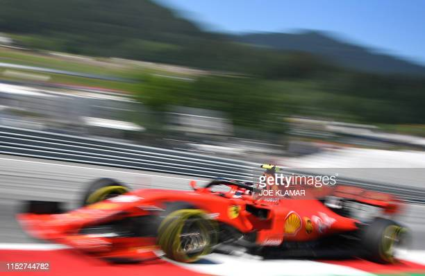 Ferrari's Monegasque driver Charles Leclerc races during the qualifying session of the Austrian Formula One Grand Prix in Spielberg on June 29 2019...