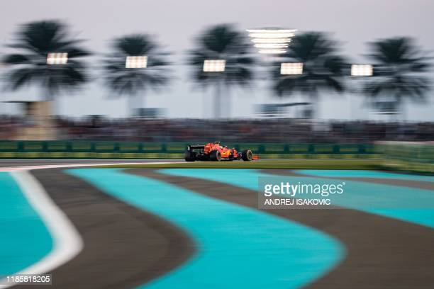 Ferrari's Monegasque driver Charles Leclerc steers his car at the Yas Marina Circuit in Abu Dhabi, during the final race of the Formula One Grand...