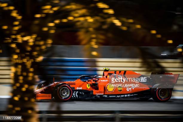 TOPSHOT Ferrari's Monegasque driver Charles Leclerc steers his car during the qualifying session ahead of the Formula One Bahrain Grand Prix at the...