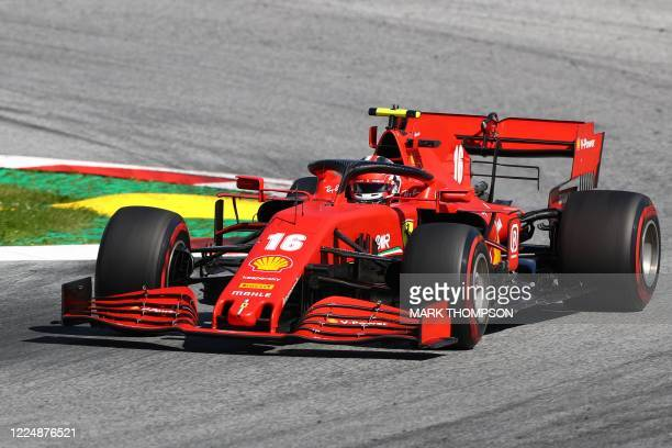 Ferrari's Monegasque driver Charles Leclerc steers his car during the Austrian Formula One Grand Prix race on July 5 2020 in Spielberg Austria