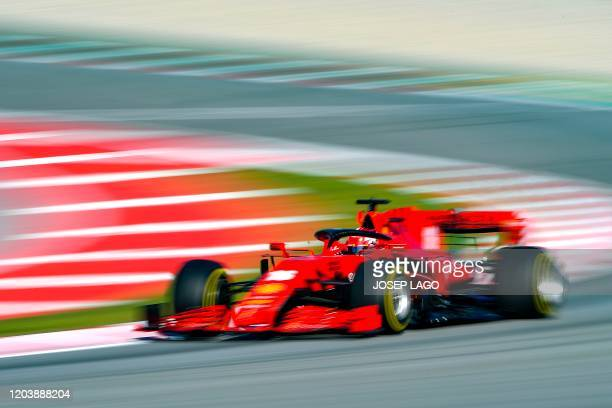 TOPSHOT Ferrari's Monegasque driver Charles Leclerc takes part in the tests for the new Formula One Grand Prix season at the Circuit de Catalunya in...