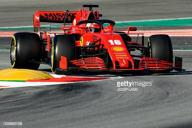 Ferrari's Monegasque driver Charles Leclerc takes part in the tests for the new Formula One Grand Prix season at the Circuit de Catalunya in Montmelo...