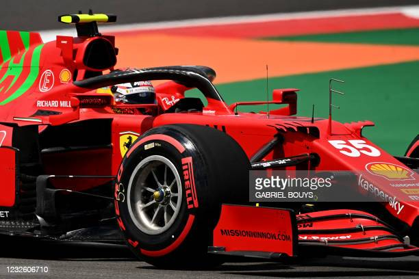 Ferrari's Spanish driver Carlos Sainz Jr drives during the first practice session of the Portuguese Formula One Grand Prix at the Algarve...
