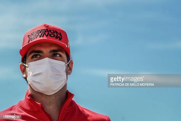 Ferrari's Spanish driver Carlos Sainz Jr waits to attend the official press conference at the Algarve International Circuit in Portimao on April 29,...