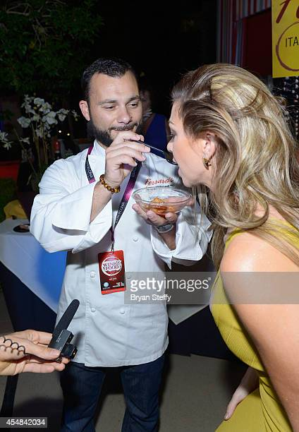 Ferraro's Executive Chef Mimmo Ferraro and spokeswoman Jennifer Kaiser attend the Las Vegas Food and Wine Festival at the Red Rock Casino Resort and...