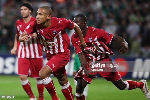 Ferreira Vieira Jussie of Bordeaux celebrates after scoring against Maccabi Haifa during their UEFA Champions League Group A matchday 6 game on...