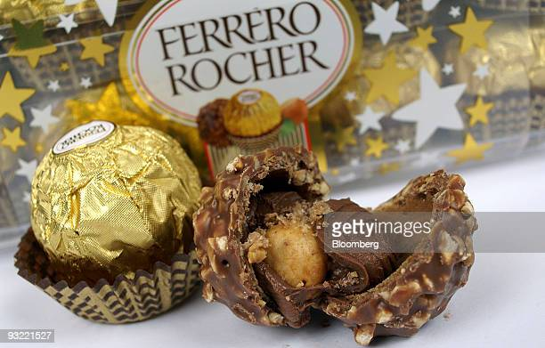 Ferrero SpA's Fererro Rocher chocolates are arranged for a photograph in Milan Italy on Thursday Nov 19 2009 Michele Ferrero sold his first batch of...