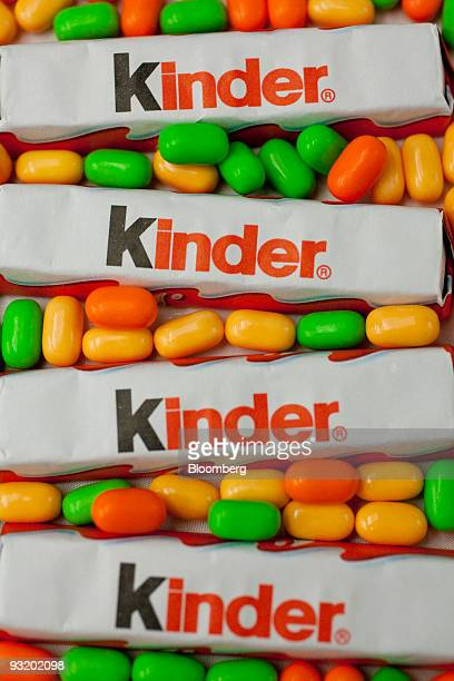 Ferrero SpA's Kinder chocolate bars and TicTac mints are arranged for a photograph in Washington DC US on Wednesday Nov 18 2009 Michele Ferrero mixed...