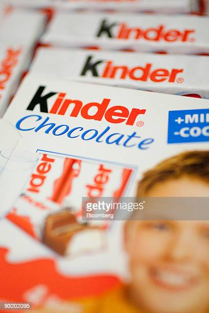 Ferrero SpA's Kinder chocolate is arranged for a photograph in Washington DC US on Wednesday Nov 18 2009 Michele Ferrero mixed his first batch of...