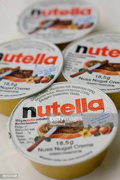 Ferrero SpA's Nutella spread is arranged for a photograph in Washington DC US on Wednesday Nov 18 2009 Michele Ferrero mixed his first batch of...