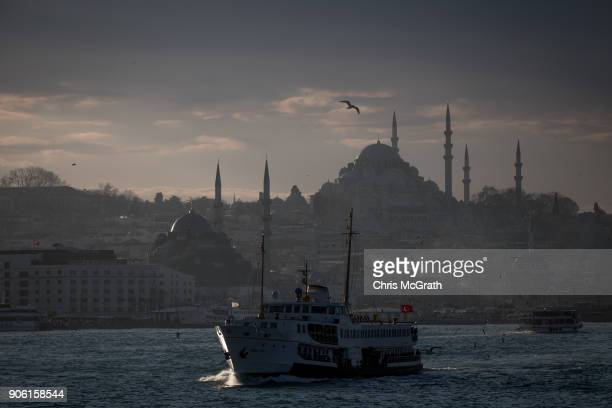 Ferries are seen in the Bosphorus Strait on January 17 2018 in Istanbul Turkey An ambitious canal project that would link the Mediterranean Sea and...