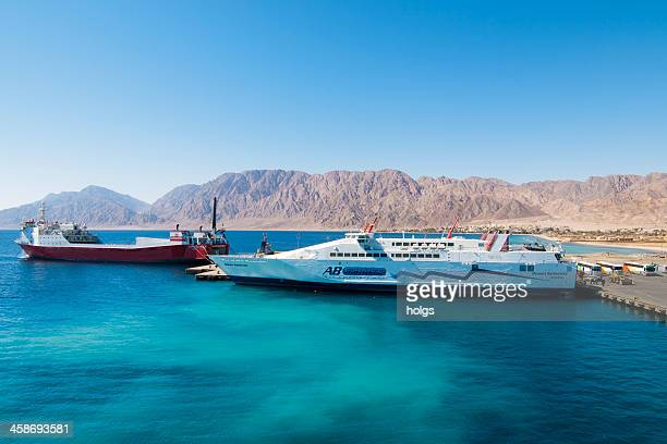 Ferries docked at the Egyptian town of Nuweiba