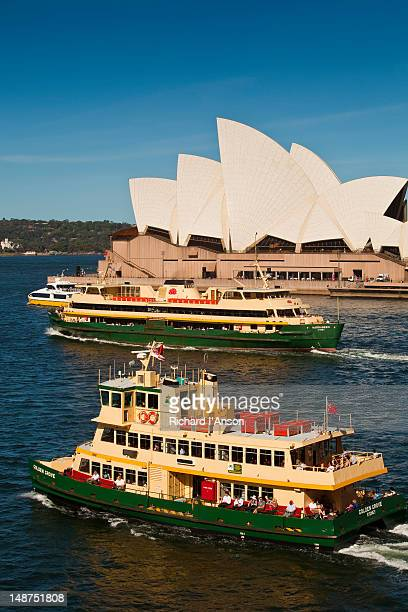 Ferries passing Opera House at Circular Quay.