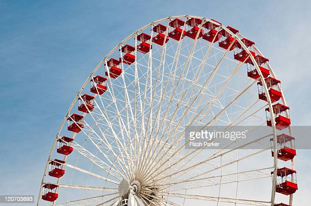 ferris wheel against blue sky - navy pier stock pictures, royalty-free photos & images