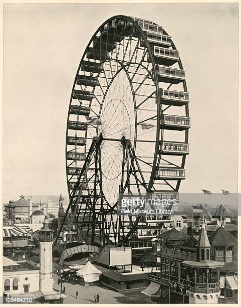 Ferris Wheel and Bird's Eye View of Midway Large photographic print from 'The White City World's Columbian Exposition 1893'Chicago Illinois June 1...