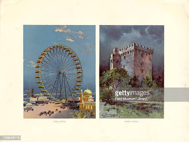 Ferris Wheel and Blarney Castle Part of the Irish Village Color plate by Charles S Graham from 'The World's Fair in Water Colors' Size of original...