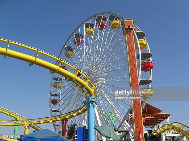 Ferris Wheel and portion of Roller Coaster, taken at Paradise Park on the Santa Monica Pier.