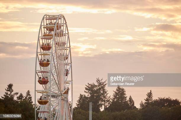 Ferris wheel at dawn during Lollapalooza Berlin 2018 at Olympiagelaende on September 9, 2018 in Berlin, Germany.