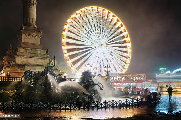 Ferris wheel at night, Bordeaux, France