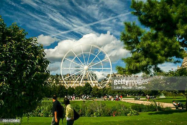 ferris wheel in park against city buildings - lutai razvan stock pictures, royalty-free photos & images