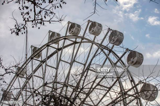 Ferris wheel inside a closed amusement park covered in volcanic ash from Taal Volcano's eruption on January 17 2020 in Tagaytay city Cavite province...