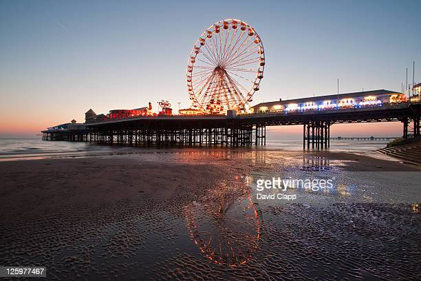 Ferris Wheel on the Central Pier made in 1868 by John Isaac Mawson on Blackpool Beach, Blackpool, Lancashire, England, UK