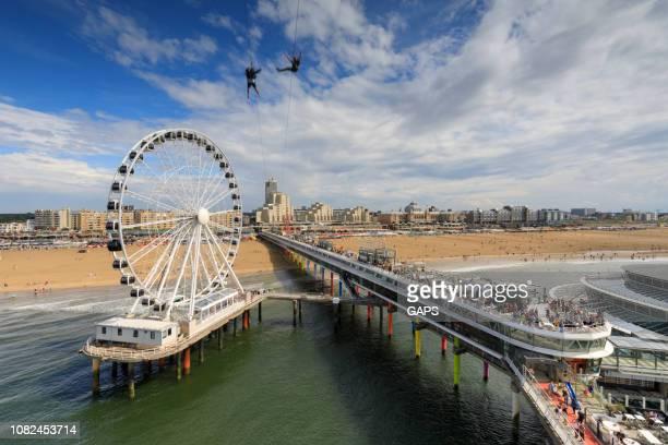 ferris wheel on the pier at scheveningen - scheveningen stock pictures, royalty-free photos & images
